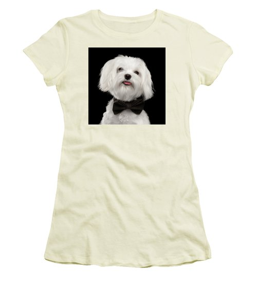 Closeup Portrait Of Happy White Maltese Dog With Bow Looking In Camera Isolated On Black Background Women's T-Shirt (Athletic Fit)