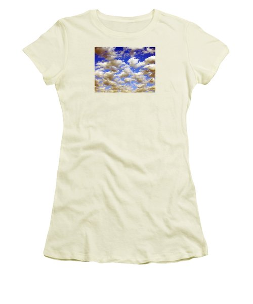 Women's T-Shirt (Junior Cut) featuring the digital art Clouds Blue Sky by Jana Russon