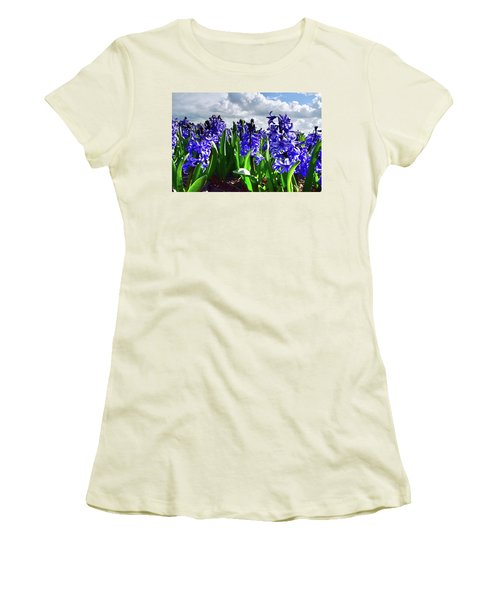 Clouds Over The Purple Hyacinth Field Women's T-Shirt (Junior Cut) by Mihaela Pater