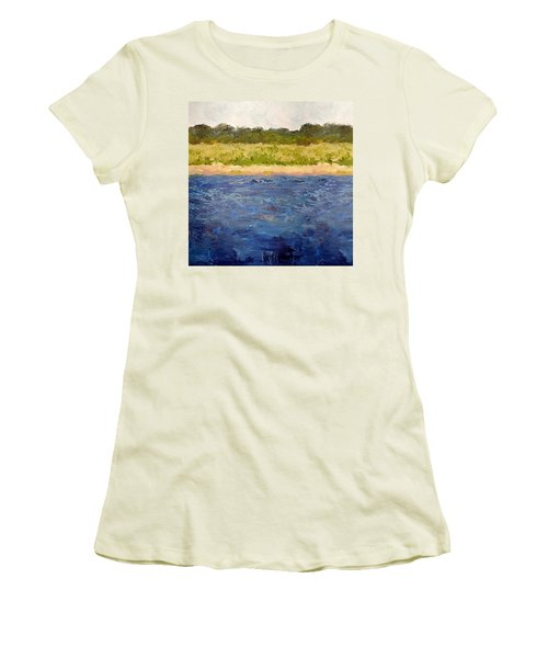 Women's T-Shirt (Athletic Fit) featuring the painting Coastal Dunes - Square by Michelle Calkins