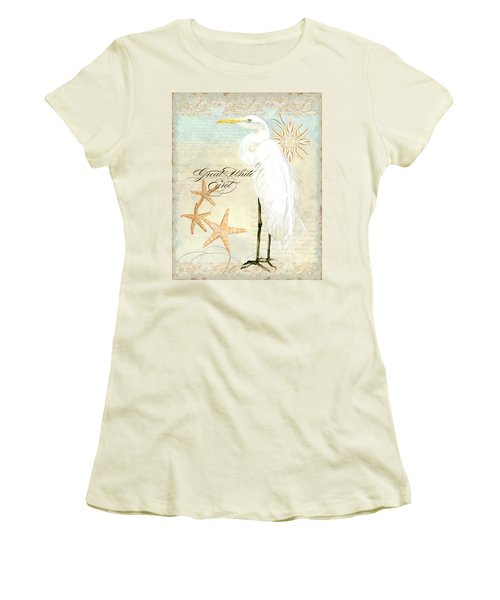 Coastal Waterways - Great White Egret 3 Women's T-Shirt (Junior Cut) by Audrey Jeanne Roberts