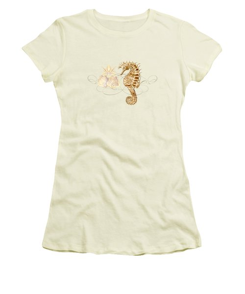 Coastal Waterways - Seahorse Rectangle 2 Women's T-Shirt (Junior Cut) by Audrey Jeanne Roberts