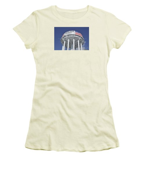 Women's T-Shirt (Junior Cut) featuring the photograph Cocoa Florida Water Tower by Bradford Martin