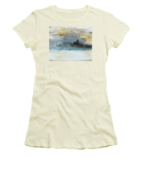 Cold Day Lakeside Abstract Landscape Women's T-Shirt (Athletic Fit)