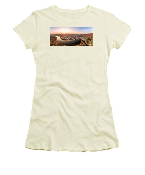 Women's T-Shirt (Junior Cut) featuring the photograph Colinsville, Connecticut Sunrise Panorama by Petr Hejl