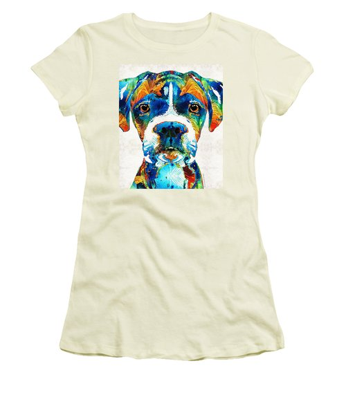 Women's T-Shirt (Athletic Fit) featuring the painting Colorful Boxer Dog Art By Sharon Cummings  by Sharon Cummings