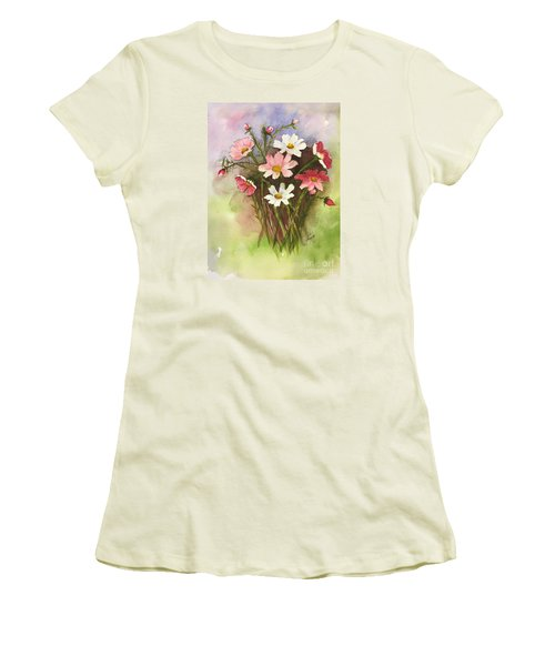 Colorful Cosmos Women's T-Shirt (Junior Cut) by Lucia Grilletto
