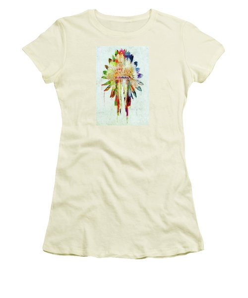 Colorful Lakota Sioux Headdress Women's T-Shirt (Junior Cut) by Olga Hamilton