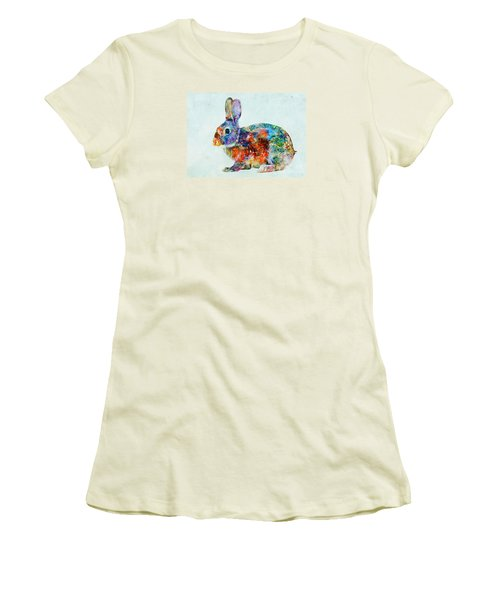 Colorful Rabbit Art Women's T-Shirt (Junior Cut) by Olga Hamilton