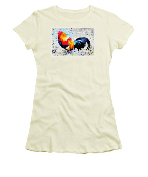 Colorful Rooster Women's T-Shirt (Athletic Fit)