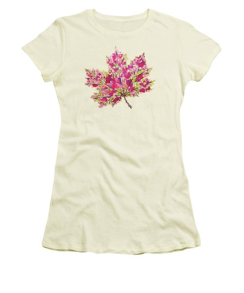 Colorful Watercolor Autumn Leaf Women's T-Shirt (Athletic Fit)