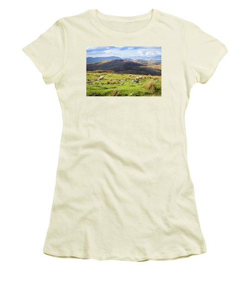 Colourful Undulating Irish Landscape In Kerry With Grazing Sheep Women's T-Shirt (Junior Cut) by Semmick Photo
