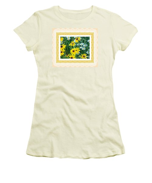 Coming Up Daisies Orange Women's T-Shirt (Athletic Fit)