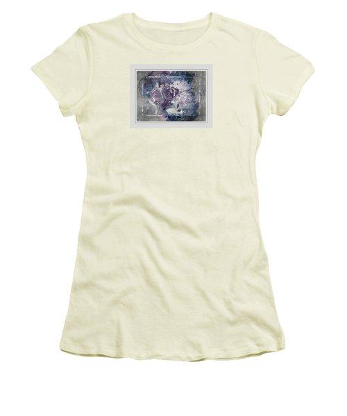 Common Buckeye In Blues Women's T-Shirt (Junior Cut) by Karen McKenzie McAdoo
