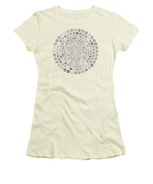 Women's T-Shirt (Junior Cut) featuring the painting Vortex Circle - White by Hailey E Herrera