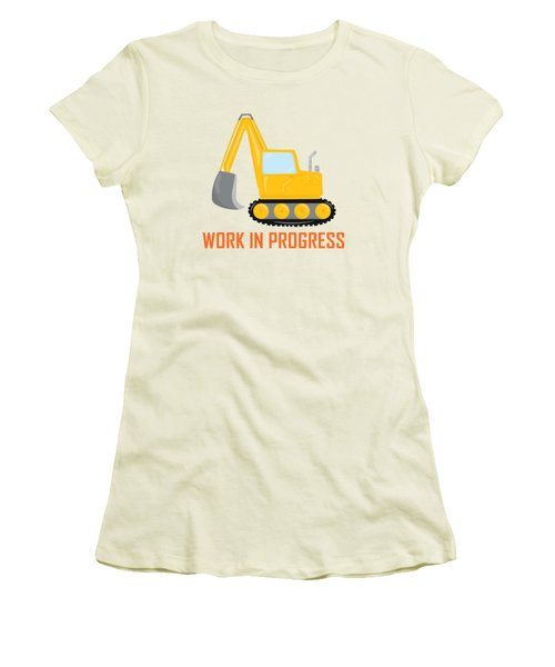 Construction Zone - Excavator Work In Progress Gifts - Grey Background Women's T-Shirt (Athletic Fit)