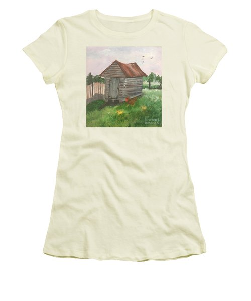 Country Corncrib Women's T-Shirt (Junior Cut) by Lucia Grilletto