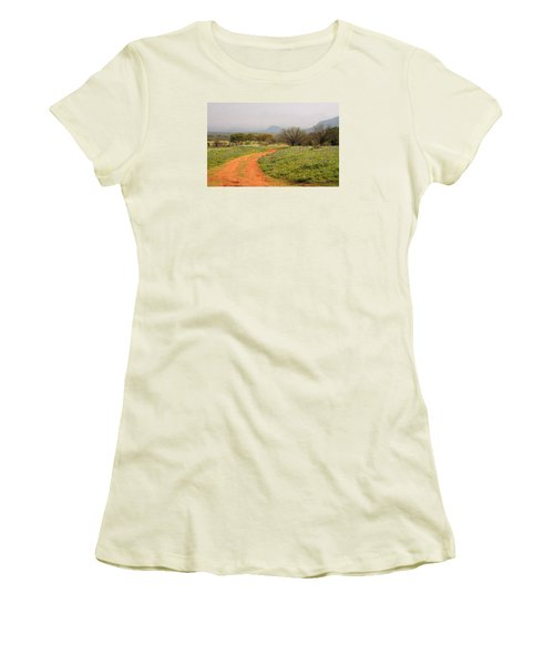 Country Road With Wild Flowers Women's T-Shirt (Athletic Fit)