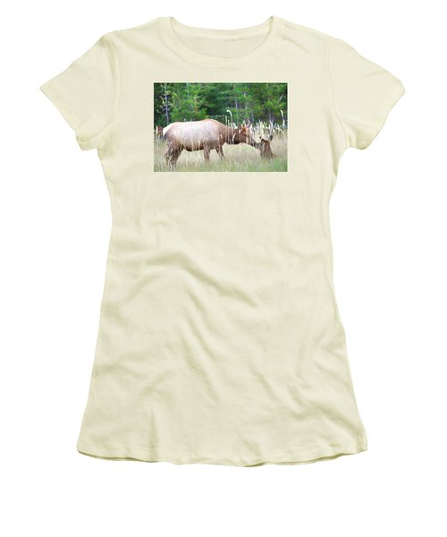 Cow Elk And Spring Baby Women's T-Shirt (Athletic Fit)