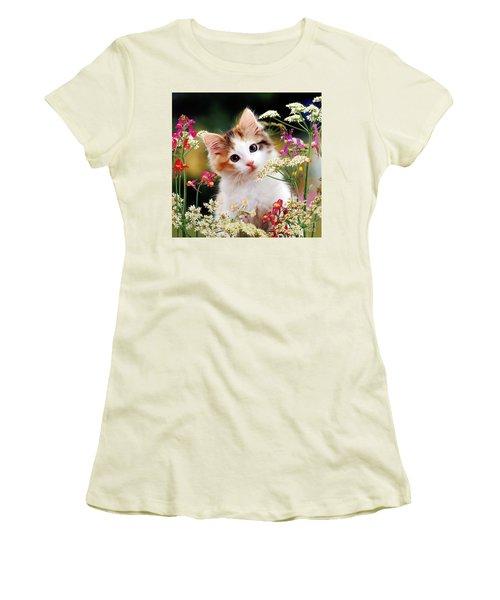 Cow Parsley Cat Women's T-Shirt (Athletic Fit)
