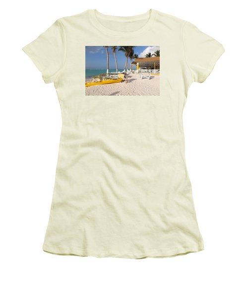 Women's T-Shirt (Junior Cut) featuring the photograph Cow Wreck Bay Beach Bar 2 by Eric Glaser