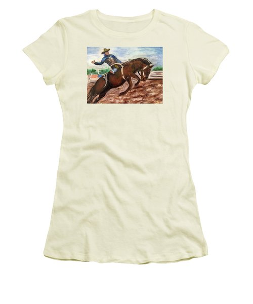 Cowboy In A Rodeo Women's T-Shirt (Athletic Fit)