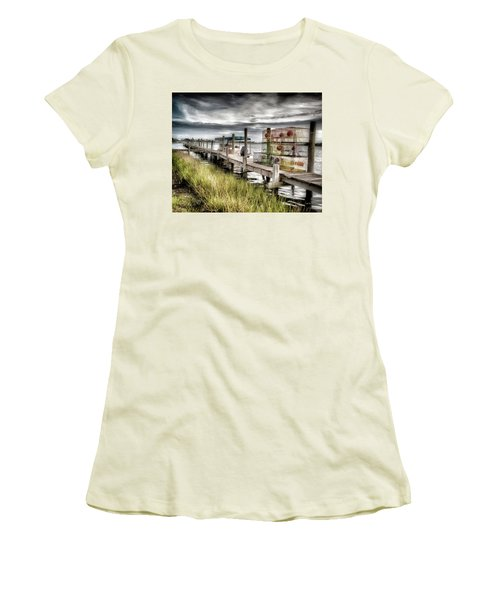 Crabber's Dock, Surf City, North Carolina Women's T-Shirt (Junior Cut) by John Pagliuca