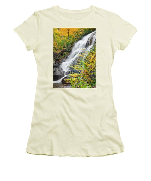 Crabtree Falls In The Fall Women's T-Shirt (Junior Cut) by David Cote