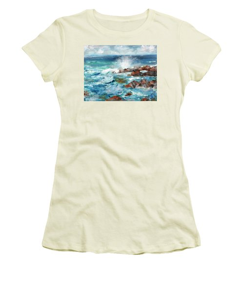 Women's T-Shirt (Junior Cut) featuring the painting Crashing Waves by Walter Fahmy