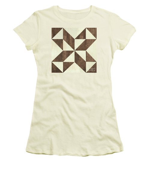 Women's T-Shirt (Junior Cut) featuring the painting Cream And Brown Quilt by Debbie DeWitt