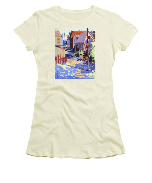 Women's T-Shirt (Junior Cut) featuring the painting Crisscross by Rae Andrews