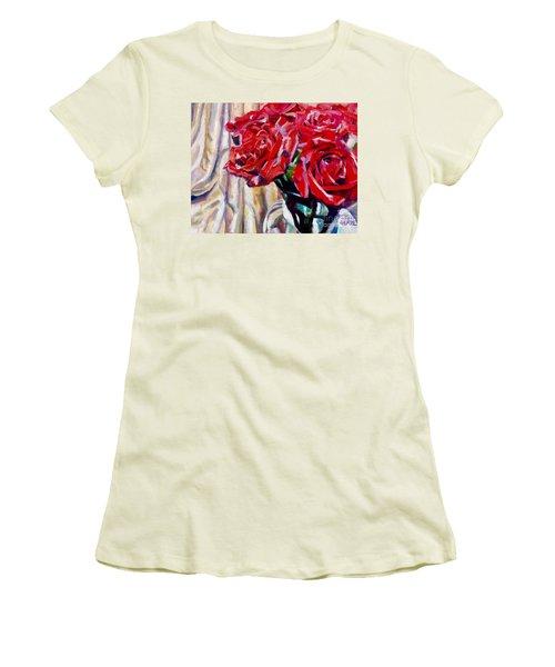 Crimson  Petals Women's T-Shirt (Athletic Fit)