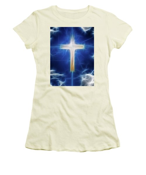 Women's T-Shirt (Junior Cut) featuring the digital art Cross Abstract by Bruce Rolff