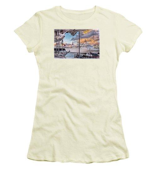 Women's T-Shirt (Junior Cut) featuring the photograph Cruise Port - Light by Hanny Heim