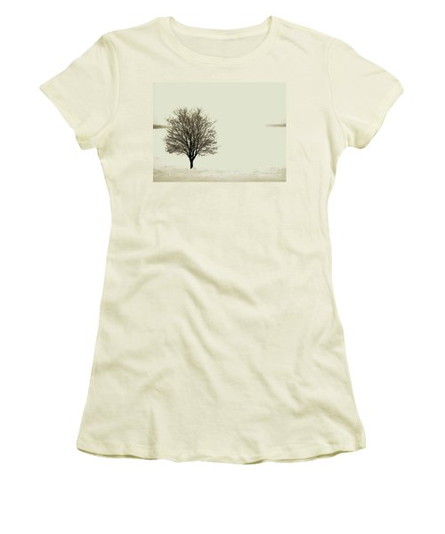 Crystal Lake In Winter Women's T-Shirt (Junior Cut) by Desiree Paquette