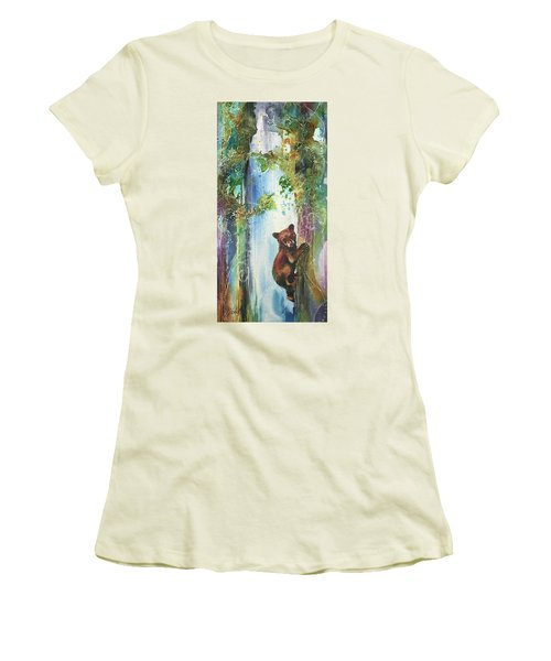 Women's T-Shirt (Junior Cut) featuring the painting Cub Bear Climbing by Christy Freeman
