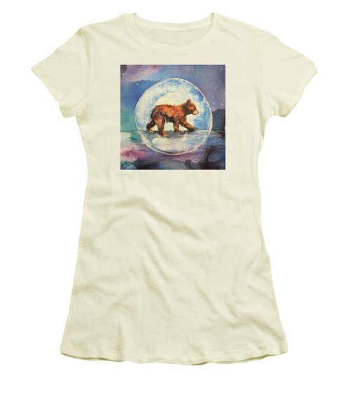 Women's T-Shirt (Junior Cut) featuring the painting Cubbie Bear by Christy Freeman