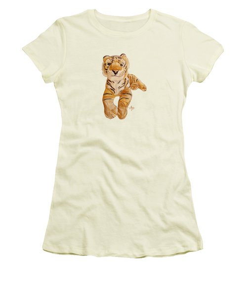 Cuddly Tiger Women's T-Shirt (Junior Cut) by Angeles M Pomata