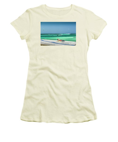 Curious Bikini Clad  Sunbather Women's T-Shirt (Athletic Fit)