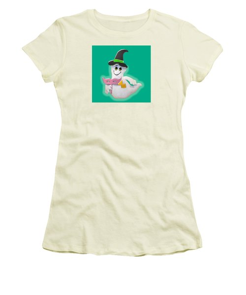 Cute Glowing Ghost Women's T-Shirt (Junior Cut) by Karen Nicholson