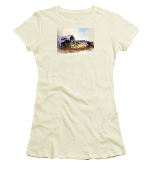 Women's T-Shirt (Junior Cut) featuring the painting Dad' Farmhouse by Allison Ashton