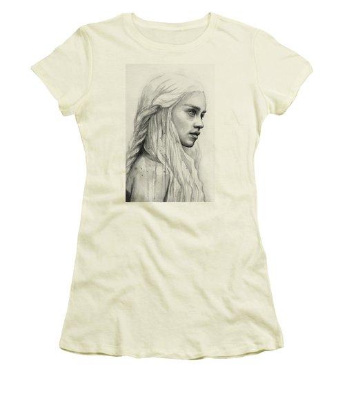 Daenerys Watercolor Portrait Women's T-Shirt (Junior Cut) by Olga Shvartsur