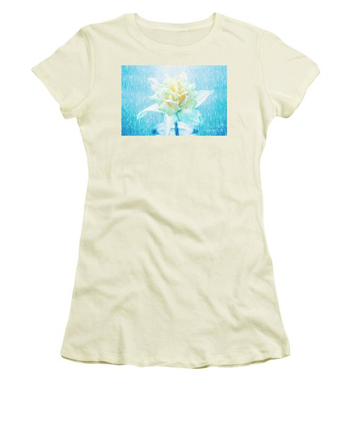 Women's T-Shirt (Athletic Fit) featuring the photograph Daffodil Flower In Rain. Digital Art by Jorgo Photography - Wall Art Gallery