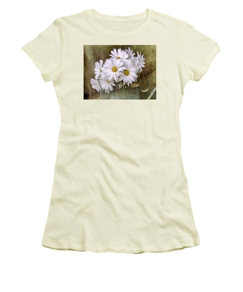 Women's T-Shirt (Athletic Fit) featuring the photograph Daisies In Antique Watering Can by Bellesouth Studio