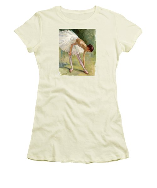 Dancer Adjusting Her Slipper. Women's T-Shirt (Athletic Fit)