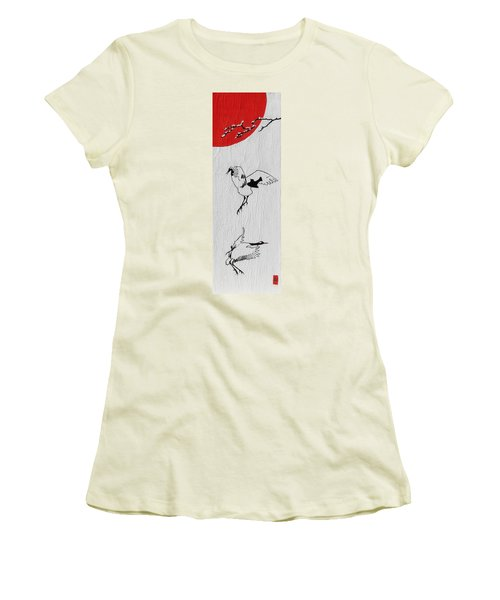 Dancing Cranes Women's T-Shirt (Junior Cut) by Stephanie Grant