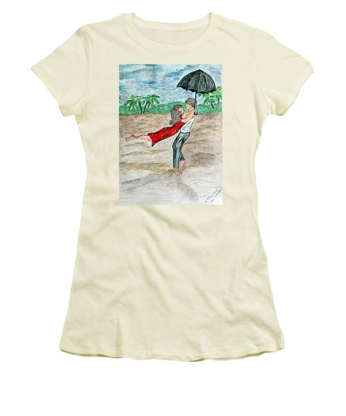 Dancing In The Rain On The Beach Women's T-Shirt (Athletic Fit)