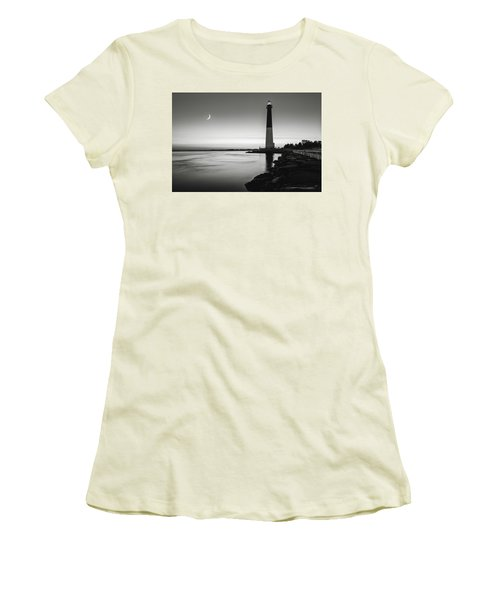 Daybreak At Barnegat, Black And White Women's T-Shirt (Junior Cut) by Eduard Moldoveanu