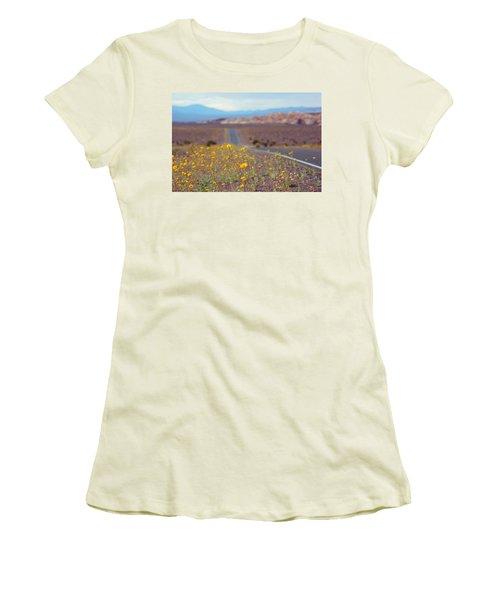 Women's T-Shirt (Junior Cut) featuring the photograph Death Valley Superbloom 101 by Daniel Woodrum