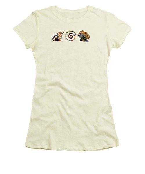 Deep Sea Shell Trio Women's T-Shirt (Junior Cut) by Deborah Smith